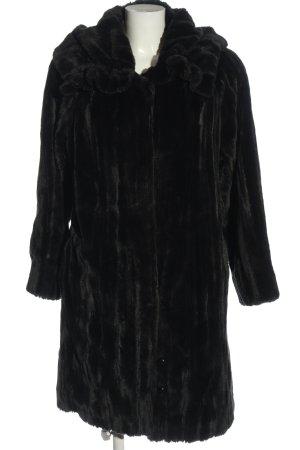 B&L Manteau en fausse fourrure noir style décontracté