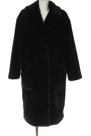 B&L Cappotto in eco pelliccia nero stile casual