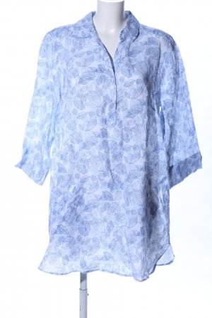B. M. Company Robe tunique bleu-blanc motif de fleur style décontracté