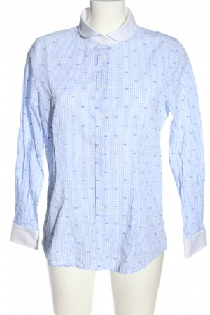B.M. Long Sleeve Shirt blue-white check pattern business style