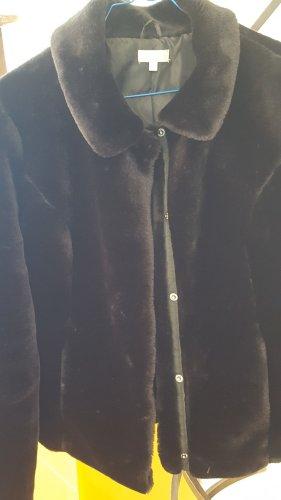 Veste en fourrure noir tissu mixte