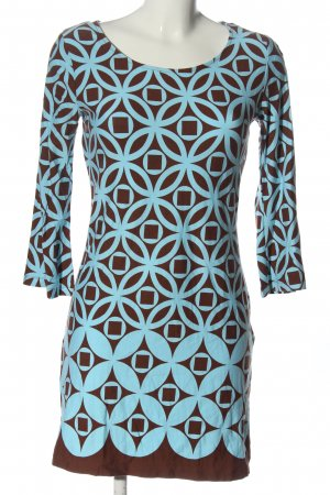 b.p.c. Bonprix Collection Langarmkleid braun-blau Allover-Druck Elegant