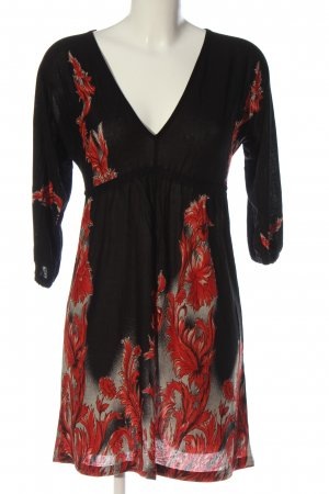 b.p.c. Bonprix Collection Abito a maniche lunghe nero-rosso motivo astratto