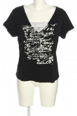 b.p.c. Bonprix Collection T-Shirt black-white themed print casual look