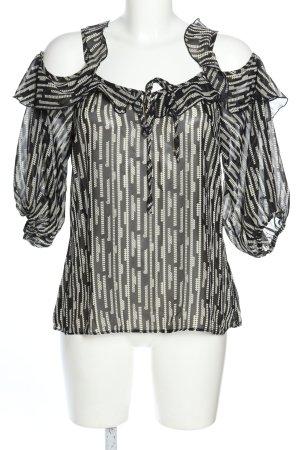 b.p.c. Bonprix Collection Transparenz-Bluse schwarz-wollweiß Allover-Druck