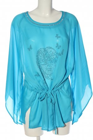 b.p.c. Bonprix Collection Transparenz-Bluse blau abstraktes Muster Casual-Look
