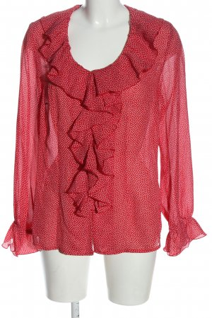 b.p.c. Bonprix Collection Transparenz-Bluse rot-weiß Allover-Druck Casual-Look