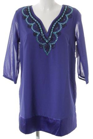 b.p.c. Bonprix Collection Tunikabluse blauviolett Perlenverzierung