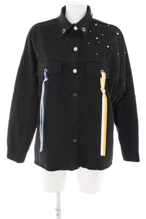 B.Style Jeansjacke schwarz Motivdruck Casual-Look