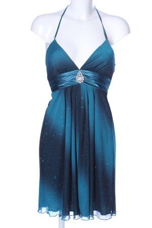 Vestido de cuello Halter azul-turquesa degradado de color elegante