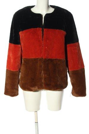 B.young Płaszcz ze sztucznym futrem Wzór w paski W stylu casual