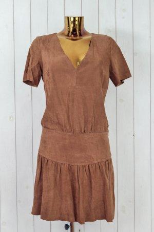 BA&SH Damen Kleid Lederkleid Leder Ziegenleder Braun Kurzarm Gr.2/ 38