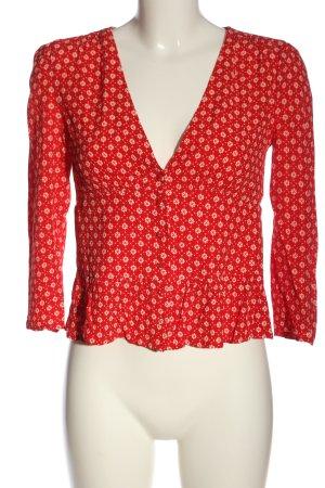 Ba&sh Koszulowa bluzka czerwony-w kolorze białej wełny Abstrakcyjny wzór