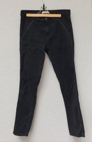 Ba&sh Jeansy o obcisłym kroju czarny-srebrny Bawełna