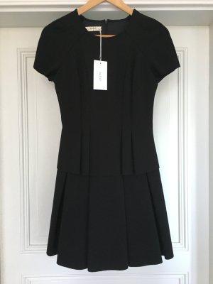 Ba&sh Sukienka z baskinką czarny Tkanina z mieszanych włókien