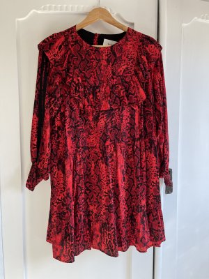 Ba&sh Kleid Rot Schwarz 0 1 XS S NP 299,- Boho Mini Leo Python