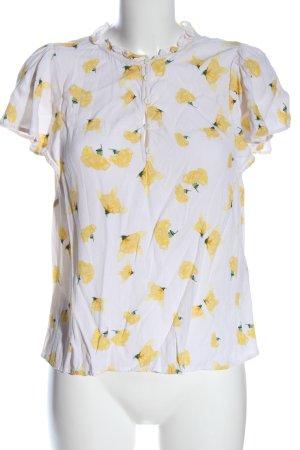 Ba&sh Blouse à manches courtes blanc-jaune primevère imprimé allover