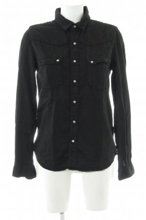 Ba&sh Long Sleeve Blouse black embroidered lettering casual look