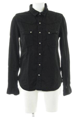 Ba&sh Langarm-Bluse schwarz Schriftzug gestickt Casual-Look