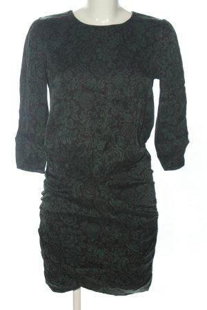 Ba&sh Robe à manches longues noir-vert imprimé allover style décontracté