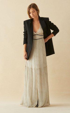 Ba&sh Sukienka maxi kremowy-w kolorze białej wełny Jedwab