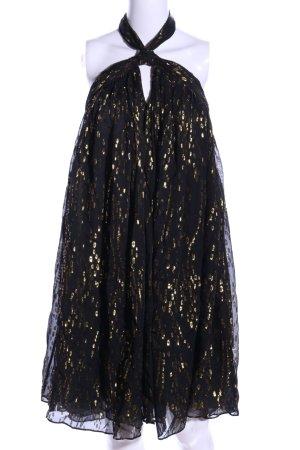 Ba&sh Vestido de cuello Halter negro-color oro estilo extravagante