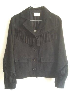 Ba&sh Leather Jacket black suede