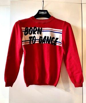 Ba&sh Cienki sweter z dzianiny czerwony Wełna