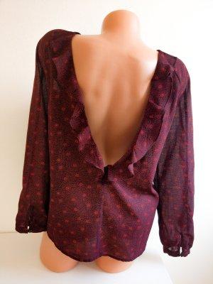 Ba&sh wunderschöne rückenfreie Designer Bluse mit Rüschendetails Bordeauxrot Gr. S