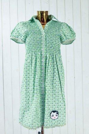 Vestido babydoll blanco-verde Algodón