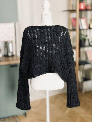 Isabel Benenato Pullover a maglia grossa antracite-grigio scuro Lana d'alpaca