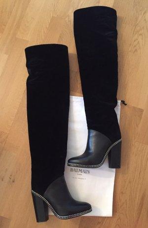 Balmain Stivale cuissard nero-argento Pelle
