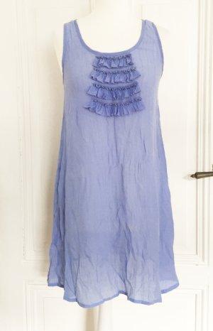 Babyblaues transparentes Longtop / Kleid mit Rüschen und Perlen