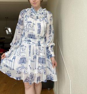 Babydoll-Kleid aus bedrucktem Kreppstoff neu