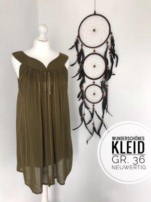 Babydoll Kleid Khaki locker leicht Sommerkleid vintage boho blogger