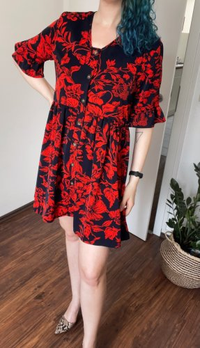 Sheinside Sukienka typu babydoll czerwony-ciemnoniebieski