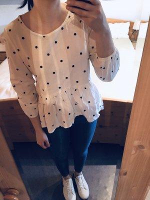 Babydoll Schößchen Peplum Shirt gepunktet weiß schwarz Gr. S