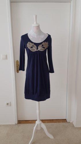 Basic Line Babydoll Dress silver-colored-dark blue polyester