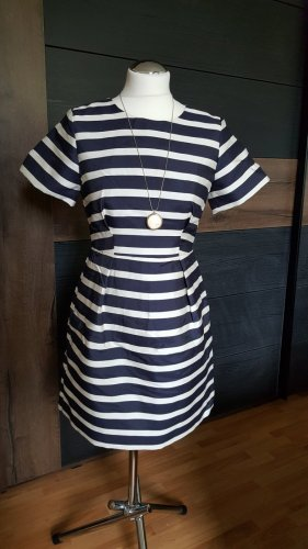 H&M Babydoll Dress dark blue-natural white viscose