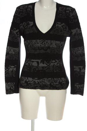 Back fragt V-Neck Sweater black-light grey themed print casual look