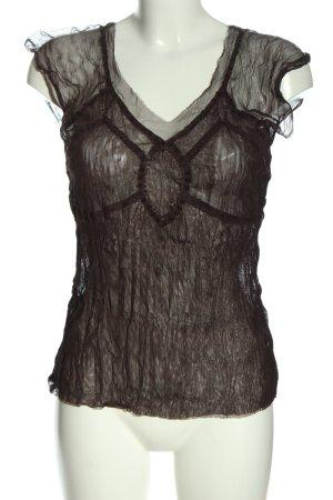 Background Transparentna bluzka brązowy Siateczkowy wzór W stylu casual