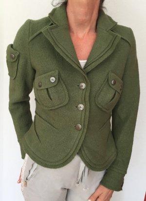 Backstage Jacke Gr.M grün 100% Wolle tailliert + warm