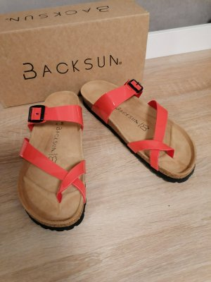 backsun Sandalen Zehentrenner orange Lack 41