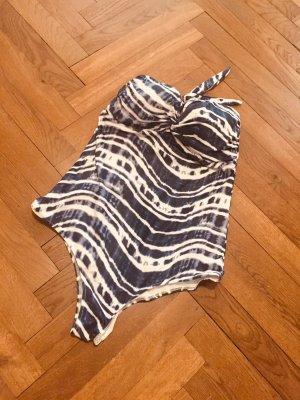 H&M Costume da bagno bianco-blu Tessuto misto
