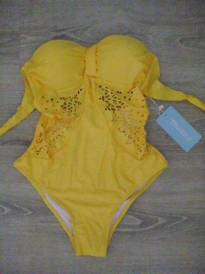 Maillot de bain jaune tissu mixte