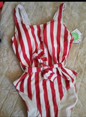 Takko Costume da bagno bianco-rosso chiaro