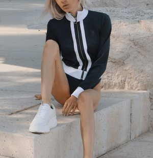 Zara Granatowa kurtka biały-ciemnoniebieski