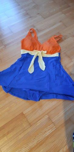 Strój kąpielowy (sukienka) pomarańczowy-niebieski neonowy