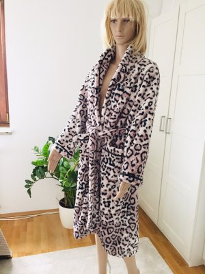 Bademantel XS S 34 36 Leopard Fleece