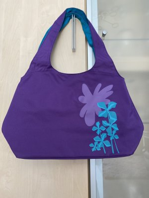 Badetasche Tasche Freizeit Lila Türkis Neu mit Druckknopf